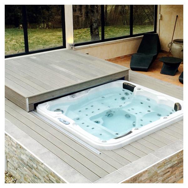 Protection de spa terrasse mobile amovible pour spa - Recouvrir une terrasse ...